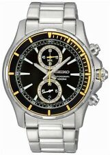 NEW SEIKO NEO SPORT SNN245P1 Men's Black Dial Yellow Chronograph Watch SNN245