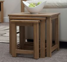 Windsor solid oak furniture nest of three coffee tables