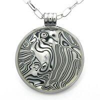 NEU 50cm+8cm HALSKETTE GLAS Animalprint ANKERKETTE silber/grau COLLIER Unikat