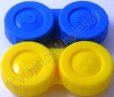 2 x Contact Lens Soaking Storage Case Blue / Yellow