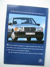 Mercedes 190E 2.3 2.6 D 2.5 Turbo brochure Prospekt English text 40 pages 1988