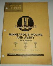Minneapolis Moline Bf To Zt Avery A R V Tractor Iampt Shop Service Manual Mm 2a V