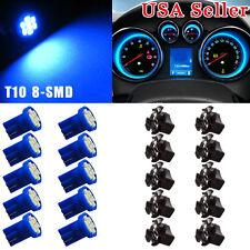 10x Blue T10 168 192 194 LED Bulb Instrument Dash Intetior Light + Twist Sockets
