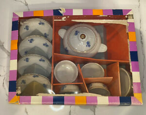Vint1960's Childs Blue Floral Pattern 11 Piece Play China Set, In Box Incomplete
