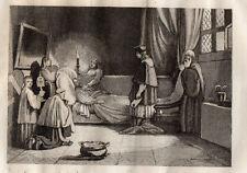 GRAVURE RELIGION / LA MORT DU POUSSIN D'APRES GRANET Salon de 1834