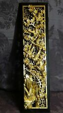 ANTIQUE 19c CHINESE DEEP RELIEF WOOD CARVED PIERCED GILT TEMPLE PANEL W/BIRDS