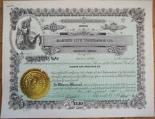 Brunswick, Georgia GA 1957 Stock Certificate: 'Banner Life Insurance Company'