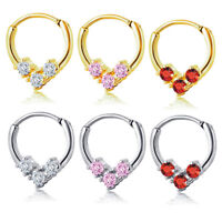 16G steel Hinged Septum Nose Lip Hoop Ring Zircon Cartilage Ear Stud Piercing
