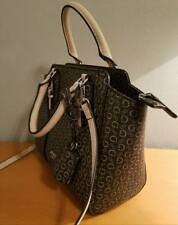 NEW! Guess Alder Purse G Logo Satchel Cross Body Bag Natural Tan Black