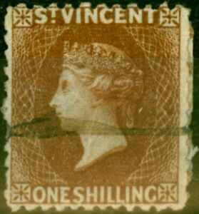 St Vincent 1869 1s Brown SG14 Good Used