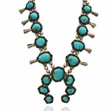 Vintage Navajo Handmade Sterling Silver Turquoise Squash Blossom Necklace