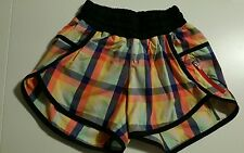 Lululemon Sz 2 SEAWHEEZE 2013 Plaid Short HTF Tracker Track Attack  VEUC