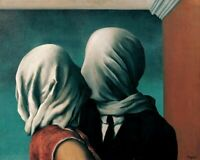 """RENE MAGRITTE /""""LOVERS WITH COVERED HEADS/"""" Art Sculpture Statue Figurine"""