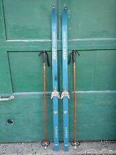 "VINTAGE Wooden Hickory 64"" Skis Have Blue Finish with Bamboo Poles"