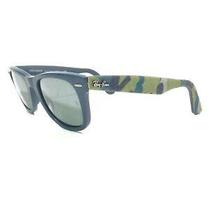 Ray-Ban Wayfarer RB2140 6061/40 Sunglasses Blue Cloth Camouflage w/ Green Lenses