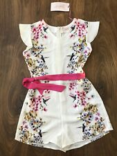 New Ted Baker Girls White Floral Playsuit Jumpsuit Size 7-8 Years