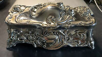 Victorian Silver High Relief Dresser Jewelry Casket Comb Powder Trinket Box Jar