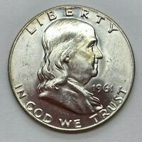1961 (D) Franklin Half Dollar- Brilliant Uncirculated Gem (BU)- 90% Silver *3a2