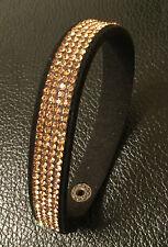 Brand New Button Strap Bracelet - Black & Gold - 2 Adjustment Sizes