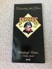 Pittsburgh Pirates 1987 Media Guide Book 100 Years Barry Bonds, Bonilla