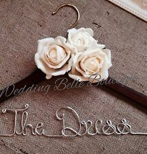 Personalised Wedding Dress Coat Hanger With Roses In Any ColourAny Wording❤️