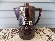 Vintage Tilso Brown Coffee Pot with Lid Hand Painted Floral Design Japan