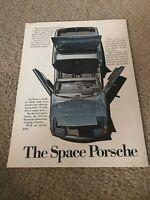 "Vintage 1972 PORSCHE 914 CONVERTIBLE Car Print Ad 1970s BLUE ""THE SPACE PORSCHE"""
