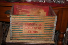 Antique Gold Seal Farms Wood Milk Crate Bottle Carrier Country Farm Decor