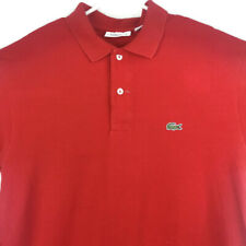 Lacoste Polo Shirt Short Sleeve Mens Classic Fit 5 Lg Solid Red Embroidered
