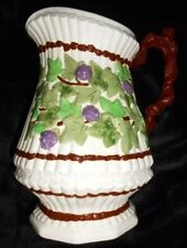 Pitcher Ceramic Grapes and Ivy Collectable Purples White Unique Large size deco
