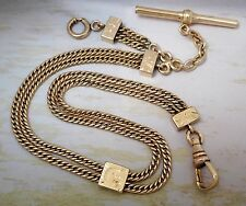 ANTIQUE GOLD FILLED DOUBLE CURB LINK POCKET WATCH FOB CHAIN W SLIDE #591M
