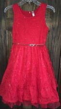 Girls Formal Holiday Dresses Size 12 in Red Flower Girl Birthday Big Girls Party