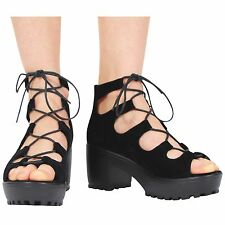 LADIES WOMENS BLOCK HEEL CHUNKY PLATFORM LACE UP ANKLE SANDALS SHOES SIZE 10-8