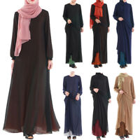 Muslim Ladies Long Maxi Dress Islamic Robe Abaya Two Layer Reversible Kaftan New