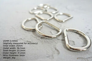 25mm welded metal d-rings 4mm wire thickness