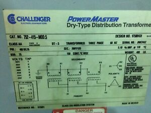 Challenger Dry Type Transformer 75KVA (used)