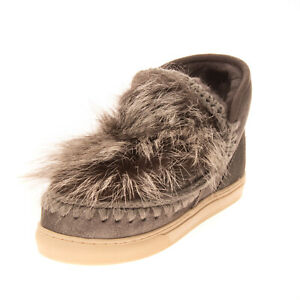RRP €255 MOU Leather & Fox Fur Eskimo Boots EU38 UK5 US8 Sneakers Inspired Sole
