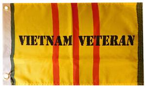 "Vietnam Veteran Yellow Ribbon 100D Woven Poly Nylon 12x18 12""x18"" Flag Grommets"
