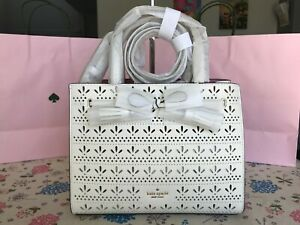 Kate Spade Hayes Perf Small Satchel $378 Bright White