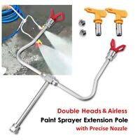 Double Head Airless Paint Sprayer Spray Gun Tip Extension Pole Rod + Tip Guard