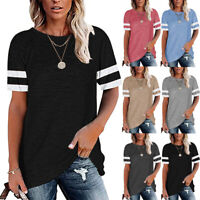 Womens Short Sleeve T Shirts Color Block Tunic Tops Casual Loose Fit Tee Blouses