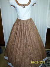 Victorian Day Gown of Brown, Tan, White Paisley, with White Eyelet Bodice