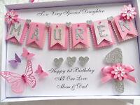 Handmade Personalised Card 1st Birthday , 2, 3, 10, 12, 15 Any Age Girl Gift Box