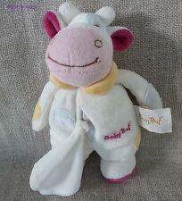 Baby Nat***Doudou/peluche/blanket  Vache Rose/blanc Velours/tissus 20cm