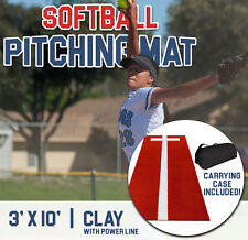 Pro-Ball Softball Pitching Mat with Power Line and Case, Clay - 3 feet x 10 feet