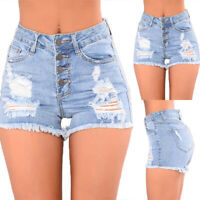 Women Ripped Skinny Shorts Denim Jeans Ladies Summer High Waist Casual Hot Pants