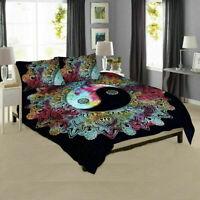 King Size Ying Yang Mandala Hippie Gypsy Indian Quilt Duvet Cover Bedding Set