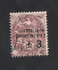 CROIX-ROUGE GUERRE Dallay N°5A Orphelins P.T.T. Guerre 2 c + 3 c Blanc OBLITÉRÉ