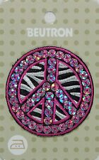 BEUTRON Iron On Motif Applique Sequined PEACE Sign BM5227 Hot Pink & Zebra