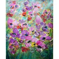 Purple Pink SPRING FLOWERS in Bloom VIVID Colors Original Oil Painting Art